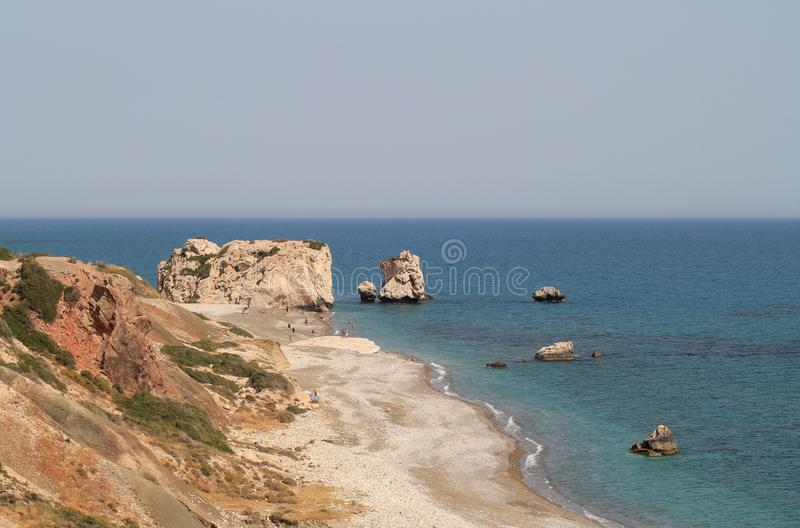 Aphrodite`s birthplace in Paphos, Cyprus stock photos