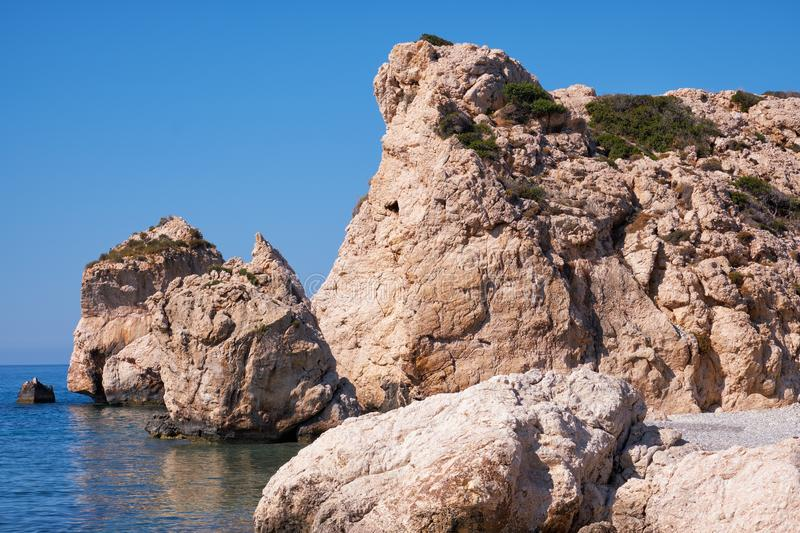 Aphrodite's Stone on Petra tou Romiou or Aphrodite Rock Beach, one of the main attractions and landmarks of Cyprus island. Aphrodite's rock beach is the royalty free stock photos