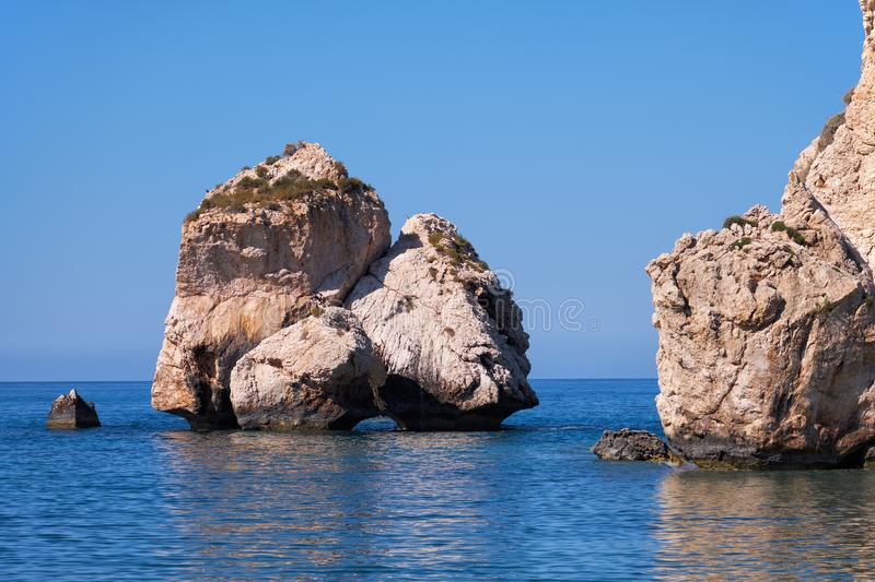 Aphrodite's Stone on Petra tou Romiou or Aphrodite Rock Beach, one of the main attractions and landmarks of Cyprus island. Aphrodite's rock beach is the royalty free stock image
