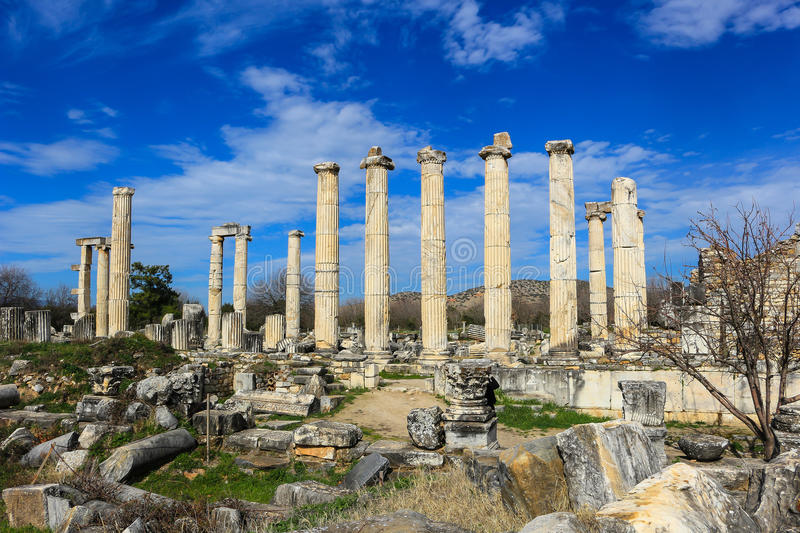 Aphrodite Temple ruins in Aphrodisias Turkey stock photo