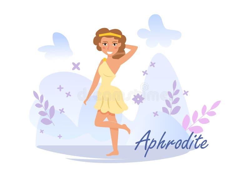 Aphrodite Vector cartoon Art d'isolement sur le fond blanc plat illustration stock