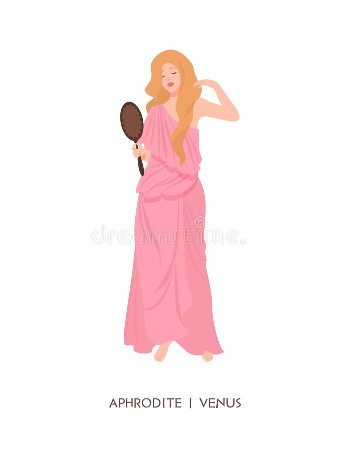 Aphrodite of Venus - godin van liefde en schoonheid, deity of de mythologische spiegel van de meisjeholding Mythologie en godsdie stock illustratie