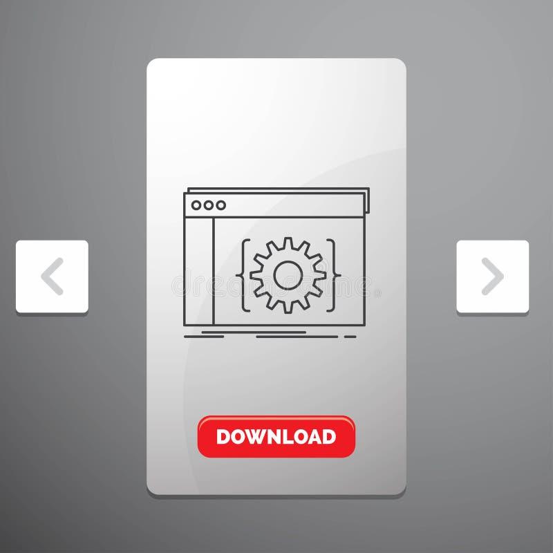 Api、应用程序、编制程序、开发商、软件线象在喧闹的酒宴页码滑子设计&红色下载按钮 皇族释放例证