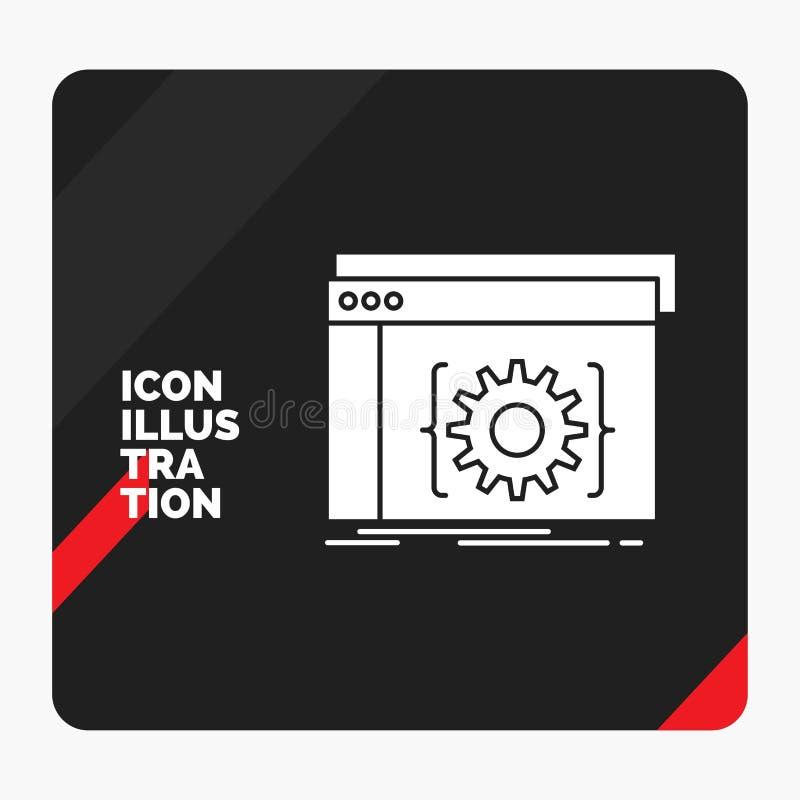 Api的红色和黑创造性的介绍背景,应用程序,编制程序,开发商,软件纵的沟纹象 向量例证