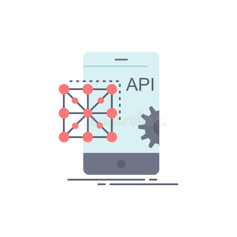 Api,应用,编制程序,发展,流动平的颜色象传染媒介 库存例证