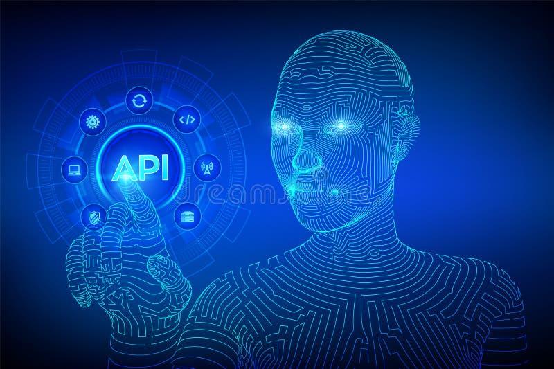 API Διεπαφή προγραμματισμού εφαρμογής, εργαλείο ανάπτυξης λογισμικού, τεχνολογία πληροφοριών και επιχειρησιακή έννοια στην εικονι απεικόνιση αποθεμάτων