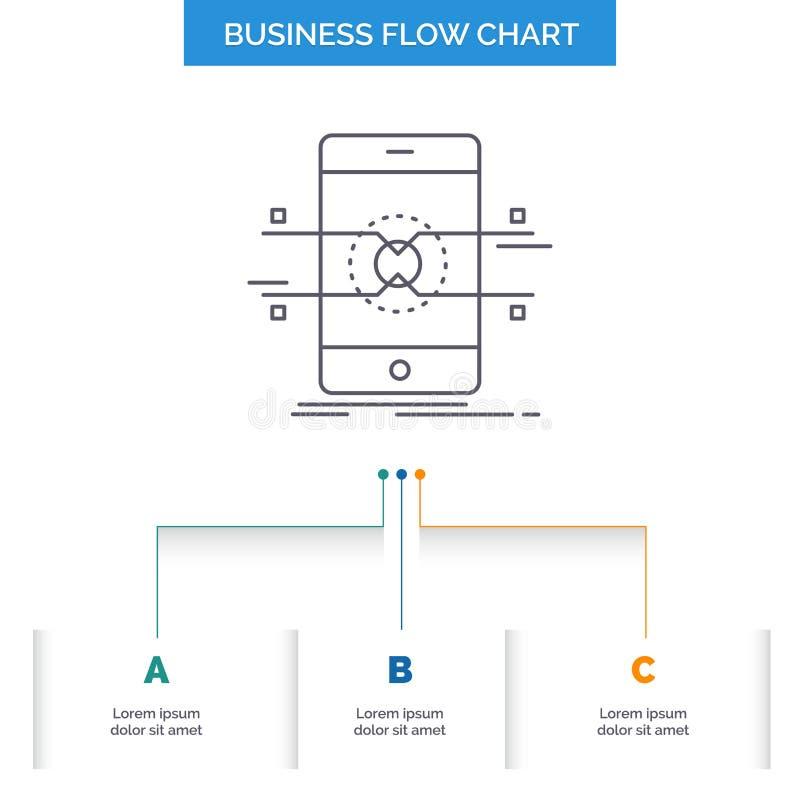 Api, интерфейс, чернь, телефон, дизайн графика течения дела смартфона с 3 шагами r иллюстрация штока