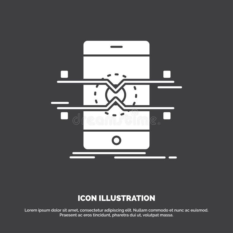 Api, интерфейс, чернь, телефон, значок смартфона r иллюстрация вектора
