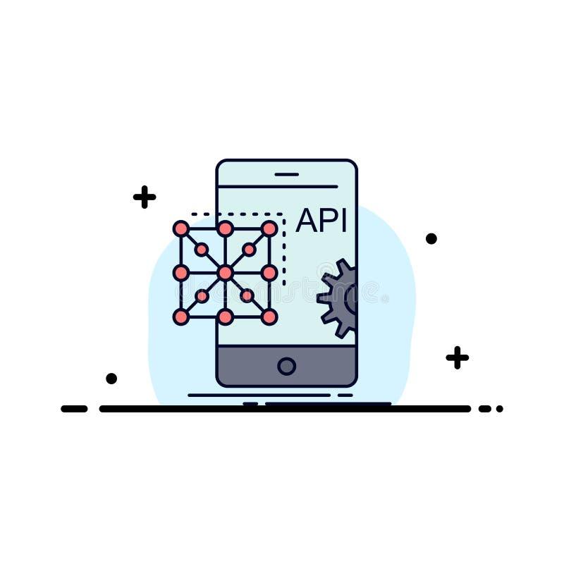 Api, применение, кодирвоание, развитие, мобильный плоский вектор значка цвета иллюстрация вектора