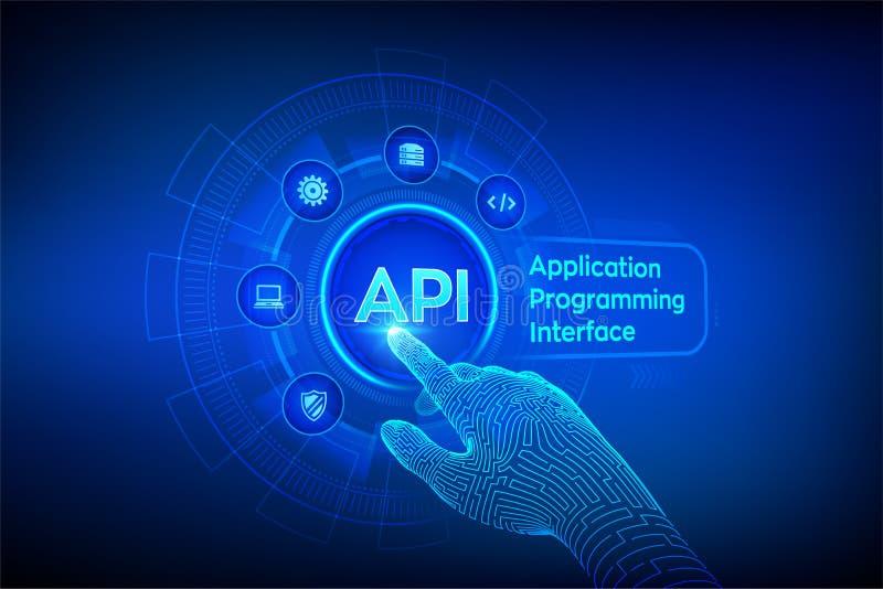 API 应用编程界面、软件开发工具、信息技术和企业概念在虚屏上 向量例证