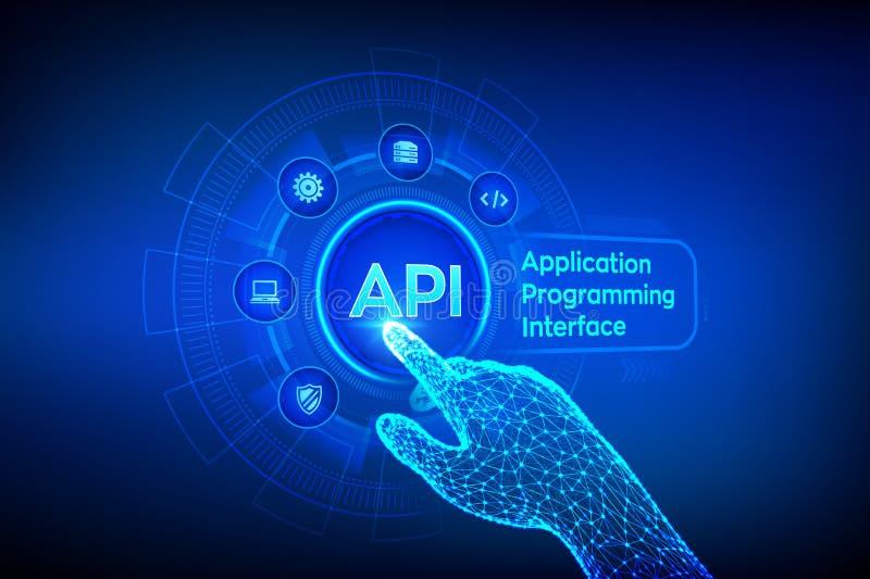 API 应用编程界面、软件开发工具、信息技术和企业概念在虚屏上 皇族释放例证