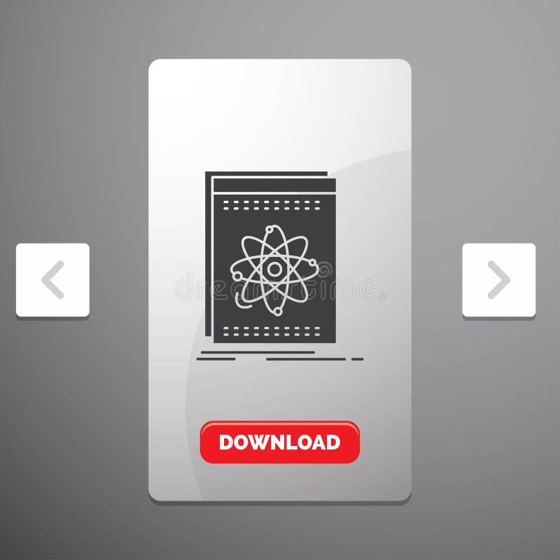 API, Anwendung, Entwickler, Plattform, Wissenschaft Glyph-Ikone im Carousals-Paginierungs-Schieber-Entwurf u. roter Download-Knop lizenzfreie abbildung