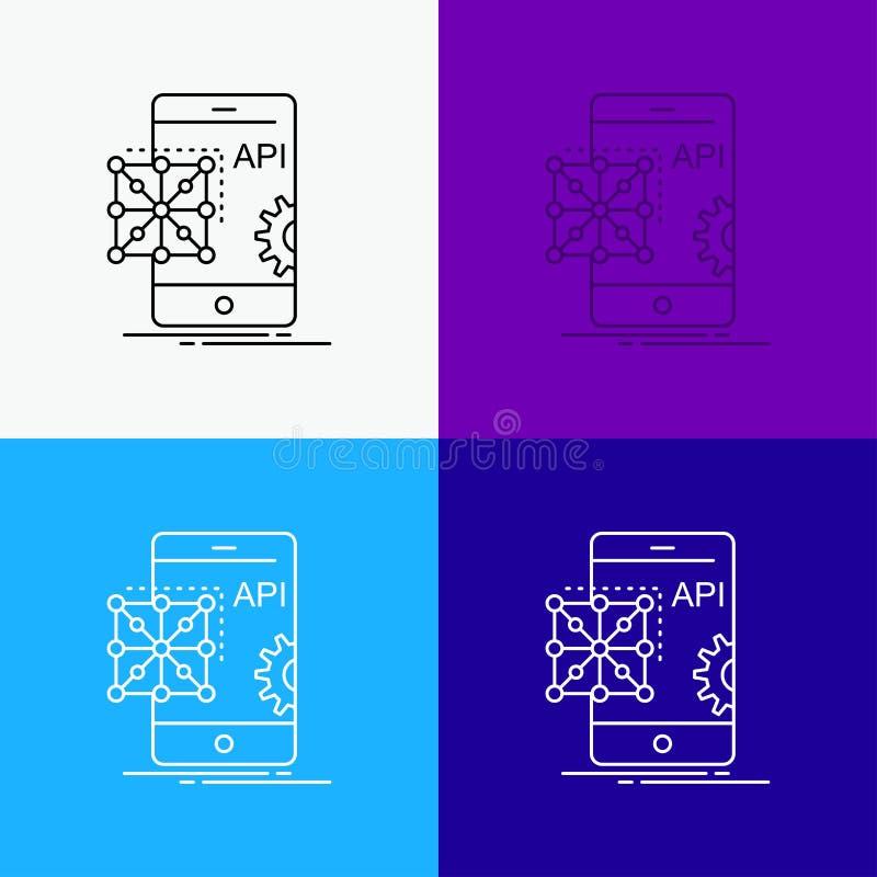 API, Anwendung, Kodierung, Entwicklung, bewegliche Ikone über verschiedenem Hintergrund r ENV 10 stock abbildung