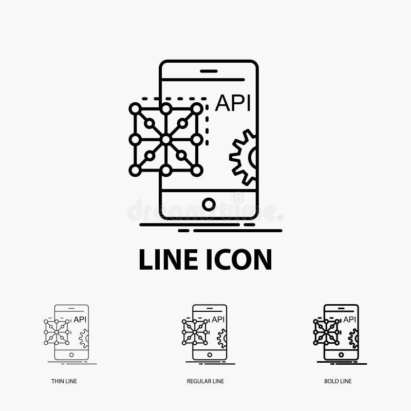 API, Anwendung, Kodierung, Entwicklung, bewegliche Ikone in der dünnen, regelmäßigen und mutigen Linie Art Auch im corel abgehobe stock abbildung