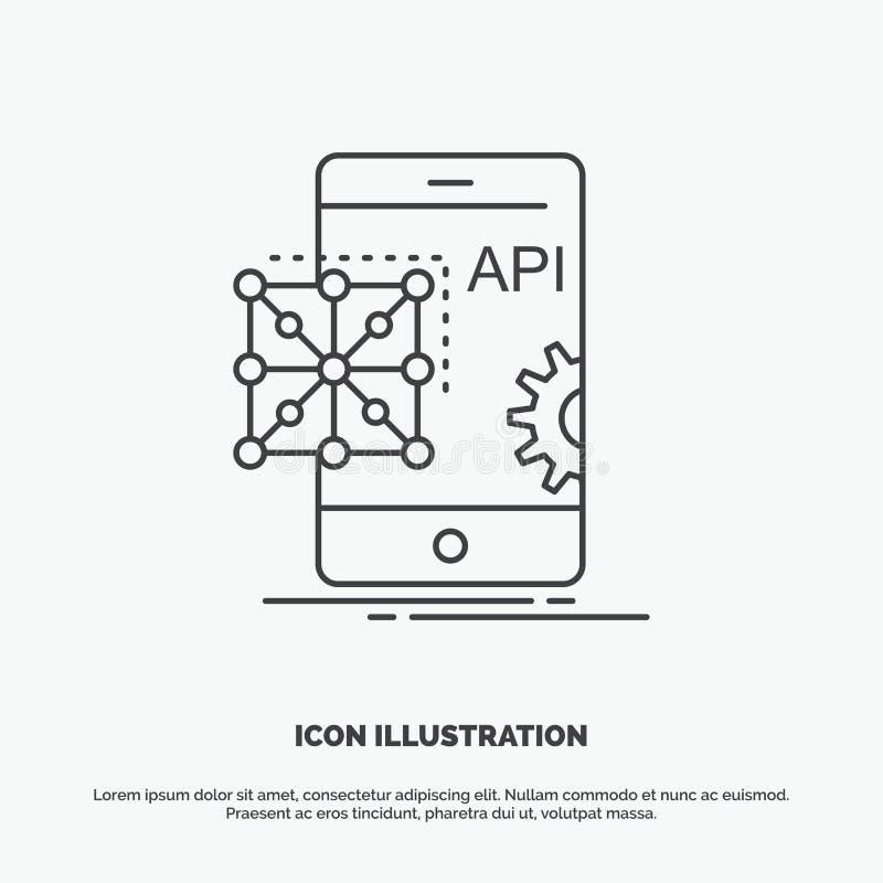 API, Anwendung, Kodierung, Entwicklung, bewegliche Ikone r lizenzfreie abbildung