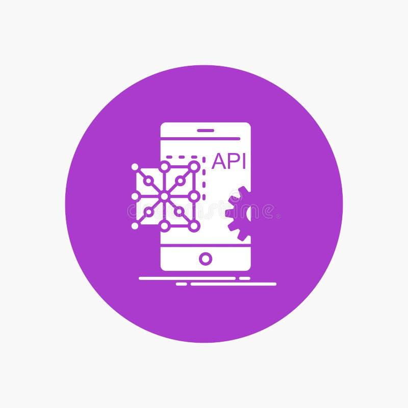API, Anwendung, Kodierung, Entwicklung, bewegliche weiße Glyph-Ikone im Kreis Vektor-Knopfillustration stock abbildung