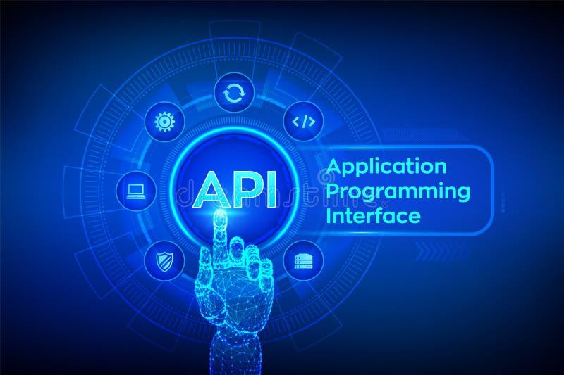 API Anwendungsprogramm-Schnittstelle, Softwareentwicklungswerkzeug, Informationstechnologie und Geschäftskonzept auf virtuellem S stock abbildung