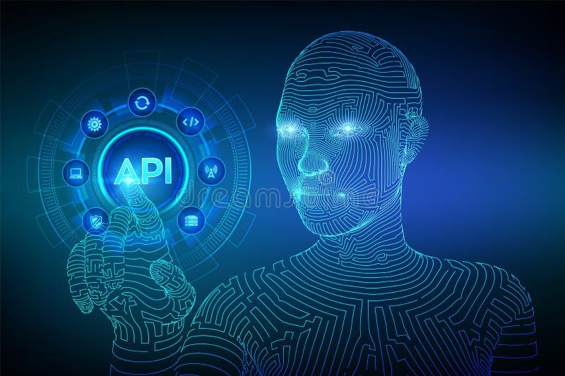 API Anwendungsprogramm-Schnittstelle, Softwareentwicklungswerkzeug, Informationstechnologie und Gesch?ftskonzept auf virtuellem S stock abbildung