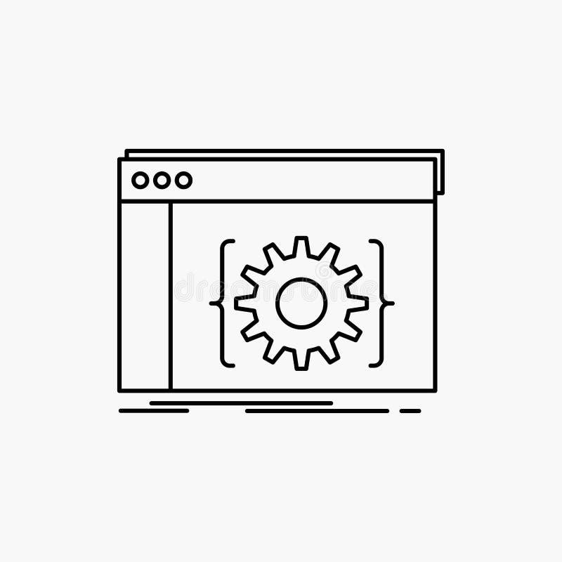 API, app, κωδικοποίηση, υπεύθυνος για την ανάπτυξη, εικονίδιο γραμμών λογισμικού : διανυσματική απεικόνιση