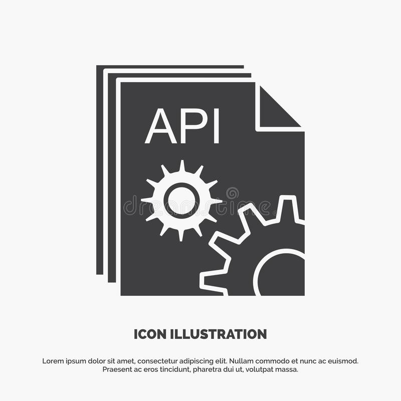 API, app, κωδικοποίηση, υπεύθυνος για την ανάπτυξη, εικονίδιο λογισμικού glyph διανυσματικό γκρίζο σύμβολο για UI και UX, τον ιστ απεικόνιση αποθεμάτων