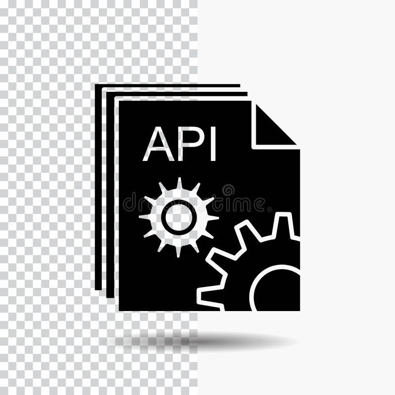API, app, κωδικοποίηση, υπεύθυνος για την ανάπτυξη, εικονίδιο Glyph λογισμικού στο διαφανές υπόβαθρο r διανυσματική απεικόνιση