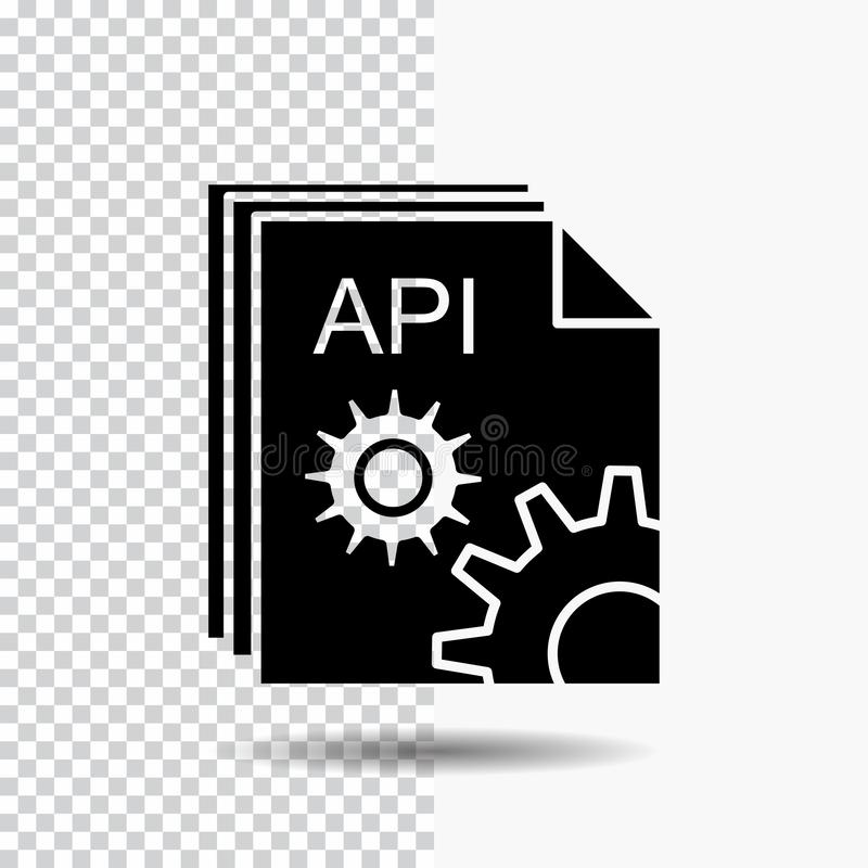 Api, app, codage, ontwikkelaar, het Pictogram van softwareglyph op Transparante Achtergrond Zwart pictogram vector illustratie