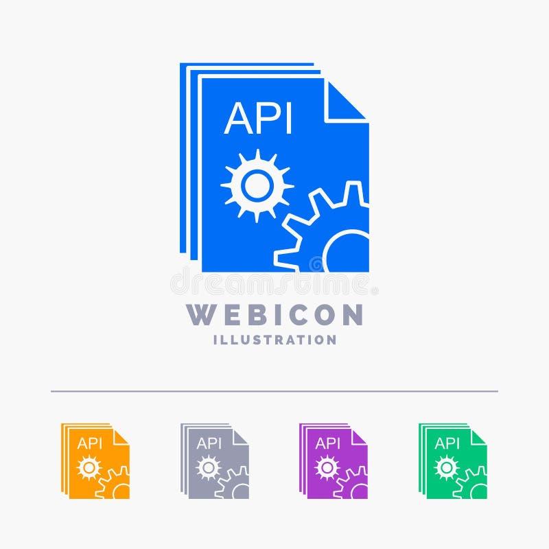 Api, app, codage, ontwikkelaar, software 5 het Malplaatje van het het Webpictogram van Kleurenglyph dat op wit wordt ge?soleerd V stock illustratie