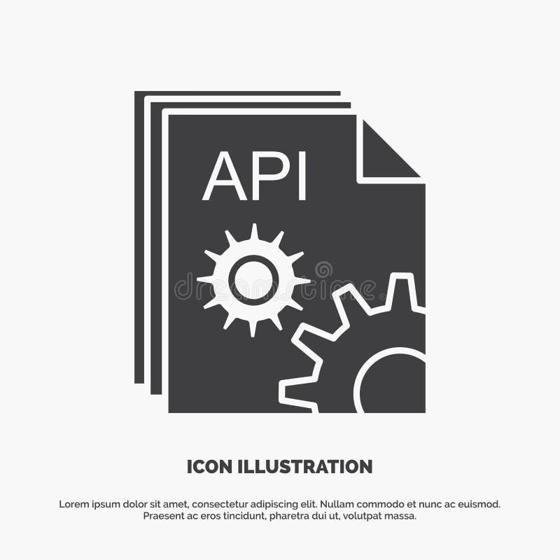 Api, app, codage, ontwikkelaar, softwarepictogram glyph vector grijs symbool voor UI en UX, website of mobiele toepassing stock illustratie