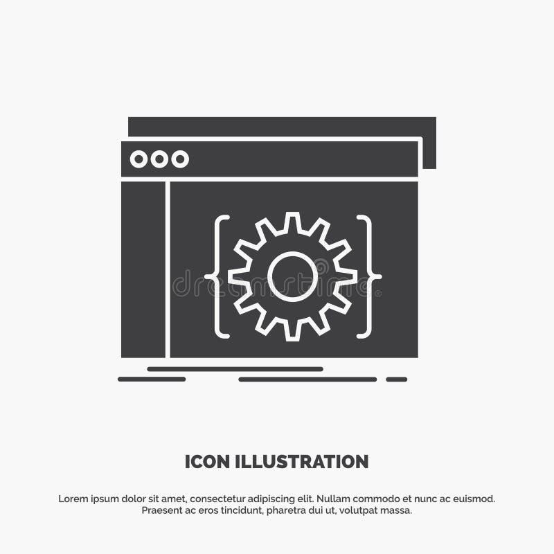 Api, app, codage, ontwikkelaar, softwarepictogram glyph vector grijs symbool voor UI en UX, website of mobiele toepassing vector illustratie