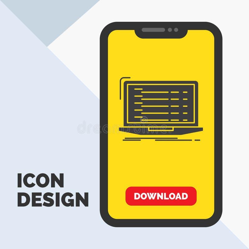Api, app, codificación, desarrollador, icono del Glyph del ordenador portátil en el móvil para la página de la transferencia dire stock de ilustración