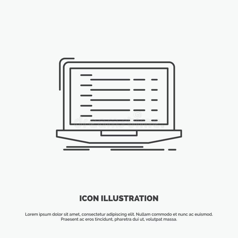 Api, app, codificaci?n, desarrollador, icono del ordenador port?til L?nea s?mbolo gris del vector para UI y UX, p?gina web o apli ilustración del vector