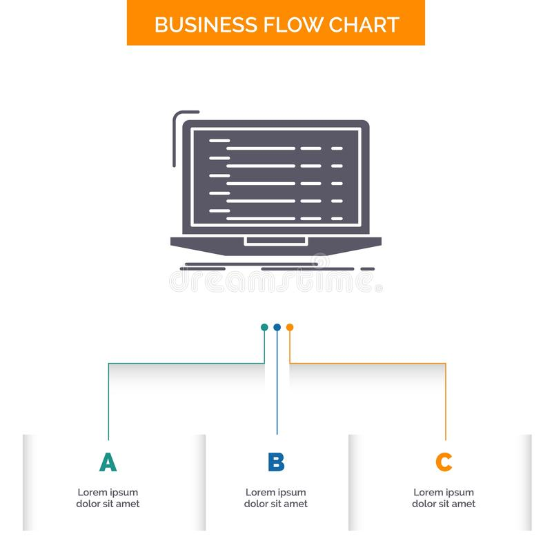 Api, app, coding, developer, laptop Business Flow Chart Design with 3 Steps. Glyph Icon For Presentation Background Template Place stock illustration