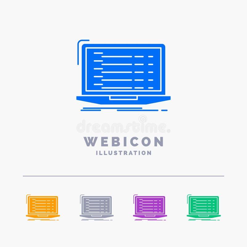 Api, app, coding, developer, laptop 5 Color Glyph Web Icon Template isolated on white. Vector illustration vector illustration