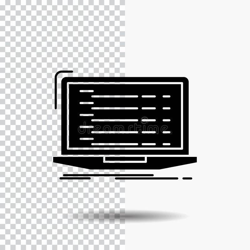 Api, app, coding, developer, laptop Glyph Icon on Transparent Background. Black Icon royalty free illustration