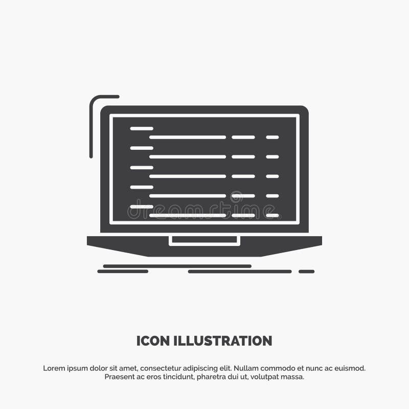 Api, app, coding, developer, laptop Icon. glyph vector gray symbol for UI and UX, website or mobile application vector illustration