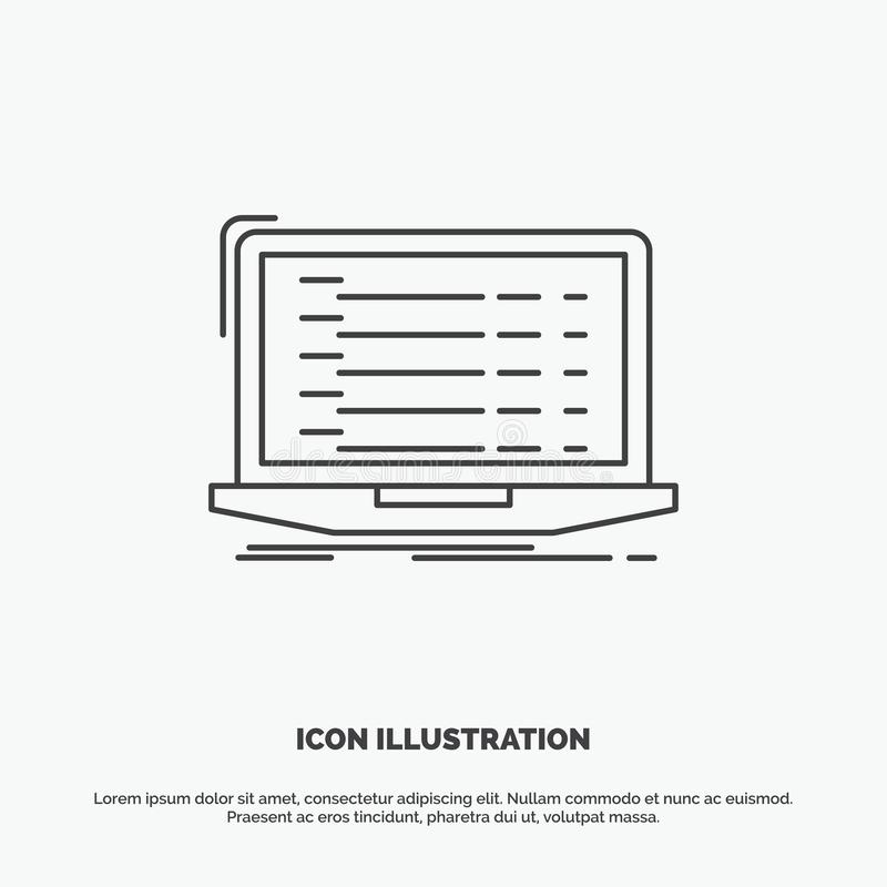 Api, app, coding, developer, laptop Icon. Line vector gray symbol for UI and UX, website or mobile application. Vector EPS10 Abstract Template background vector illustration