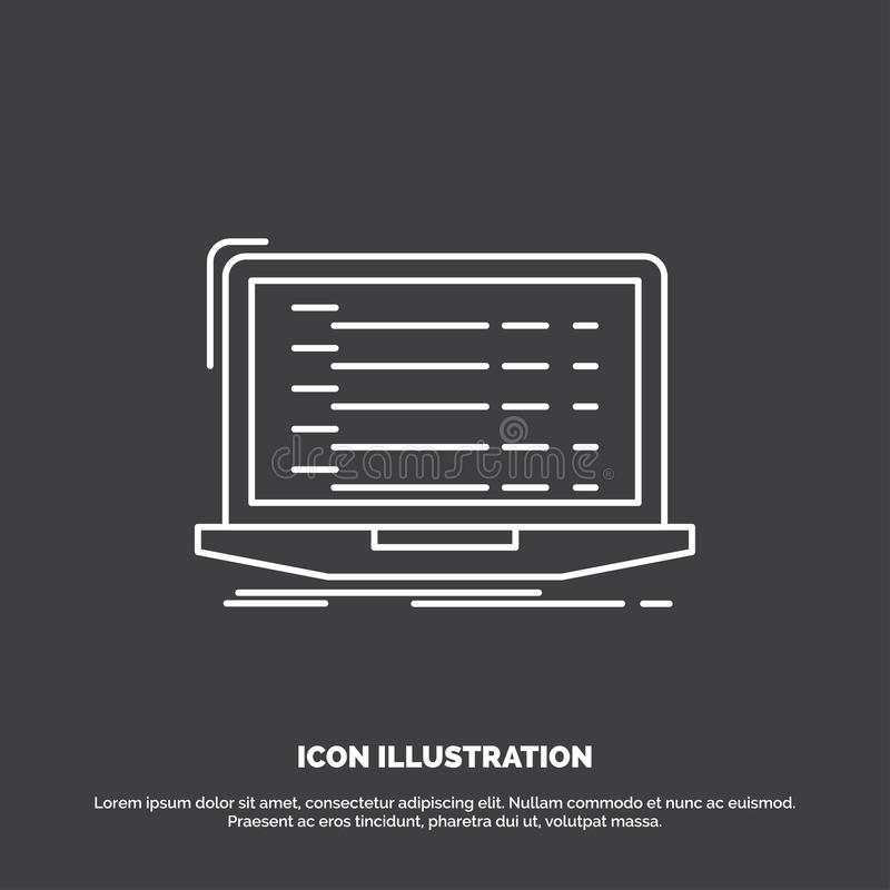 Api, app, coding, developer, laptop Icon. Line vector symbol for UI and UX, website or mobile application. Vector EPS10 Abstract Template background stock illustration