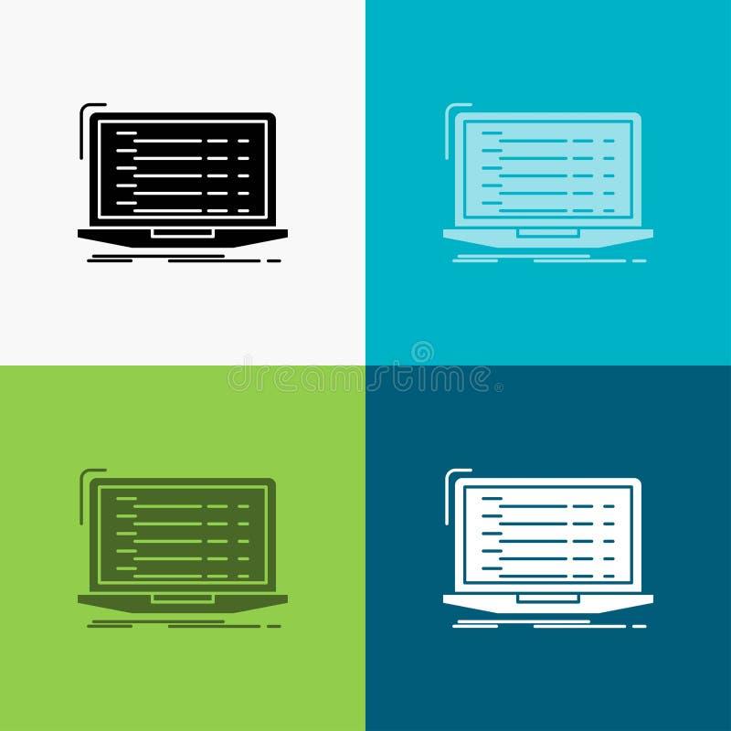 Api, app, coding, developer, laptop Icon Over Various Background. glyph style design, designed for web and app. Eps 10 vector vector illustration