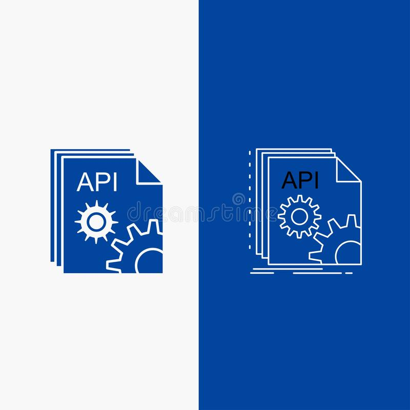 Api, app, coding, developer, software Line and Glyph web Button in Blue color Vertical Banner for UI and UX, website or mobile vector illustration