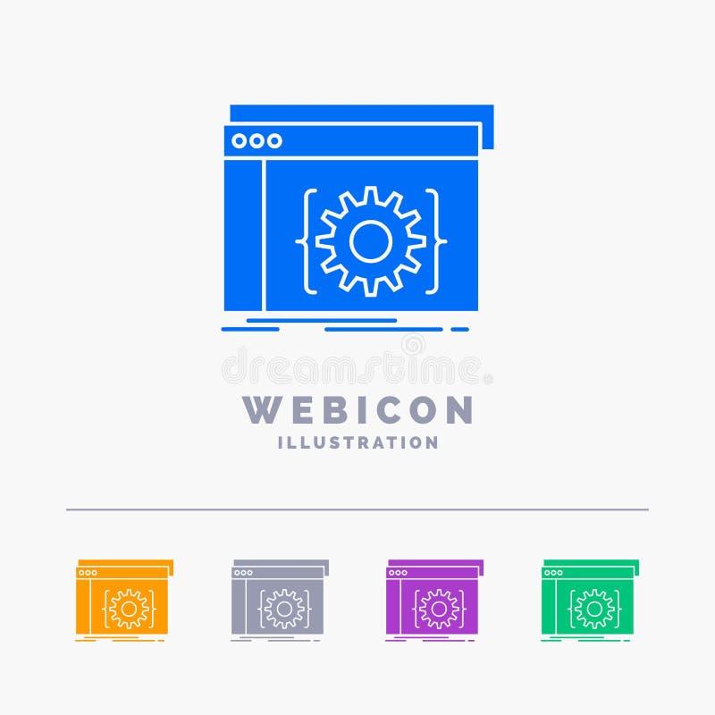 Api, app, cyfrowanie, przedsiębiorca budowlany, oprogramowania 5 koloru glifu sieci ikony szablon odizolowywający na bielu r?wnie royalty ilustracja