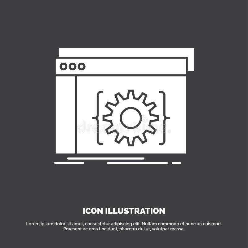 Api, app, cyfrowanie, przedsiębiorca budowlany, oprogramowanie ikona glifu wektorowy symbol dla UI, UX, strona internetowa i wisz royalty ilustracja