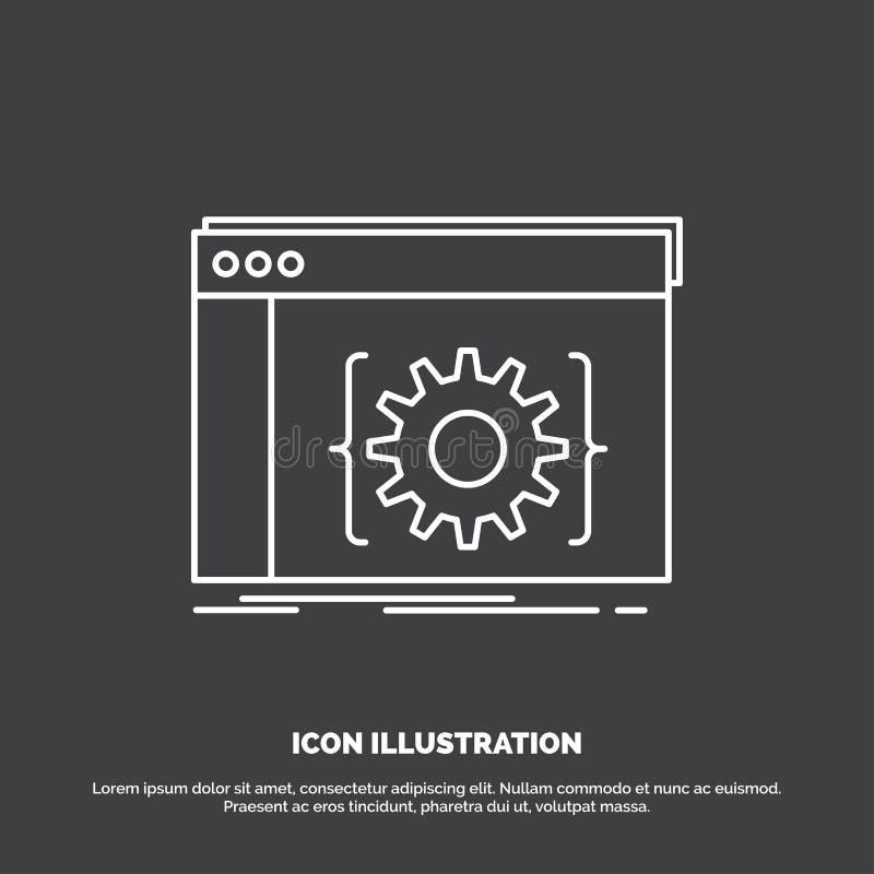 Api, app, cyfrowanie, przedsi?biorca budowlany, oprogramowanie ikona Kreskowy wektorowy symbol dla UI, UX, strona internetowa i w ilustracji