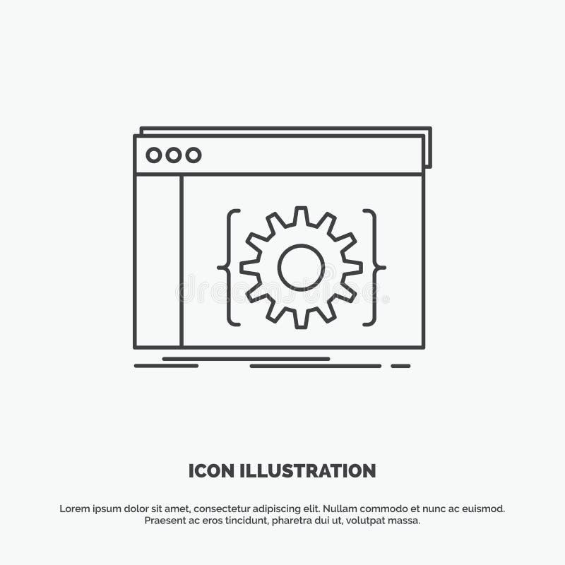 Api, app, cyfrowanie, przedsi?biorca budowlany, oprogramowanie ikona Kreskowy wektorowy szary symbol dla UI, UX, strona interneto royalty ilustracja