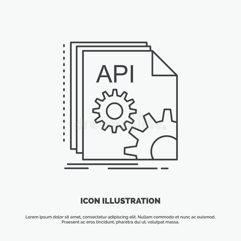 Api, app, cyfrowanie, przedsi?biorca budowlany, oprogramowanie ikona Kreskowy wektorowy szary symbol dla UI, UX, strona interneto ilustracji