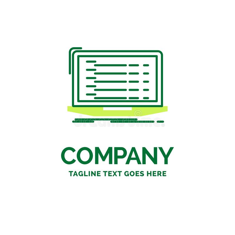 API, App, Kodierung, Entwickler, Laptop flache Geschäfts-Logoschablone lizenzfreie abbildung