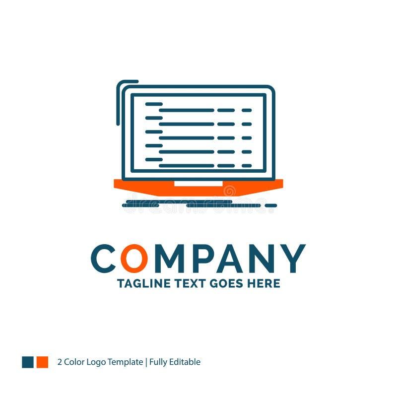 API, App, Kodierung, Entwickler, Laptop Logo Design Blau und Orange stock abbildung