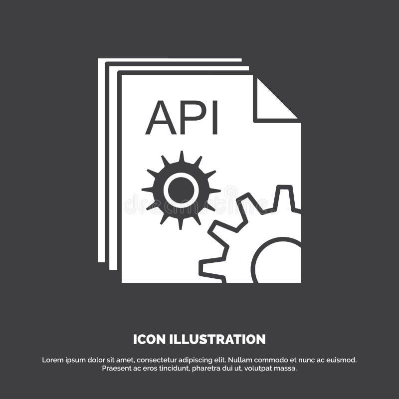 API, App, Kodierung, Entwickler, Software Ikone Glyphvektorsymbol f?r UI und UX, Website oder bewegliche Anwendung stock abbildung