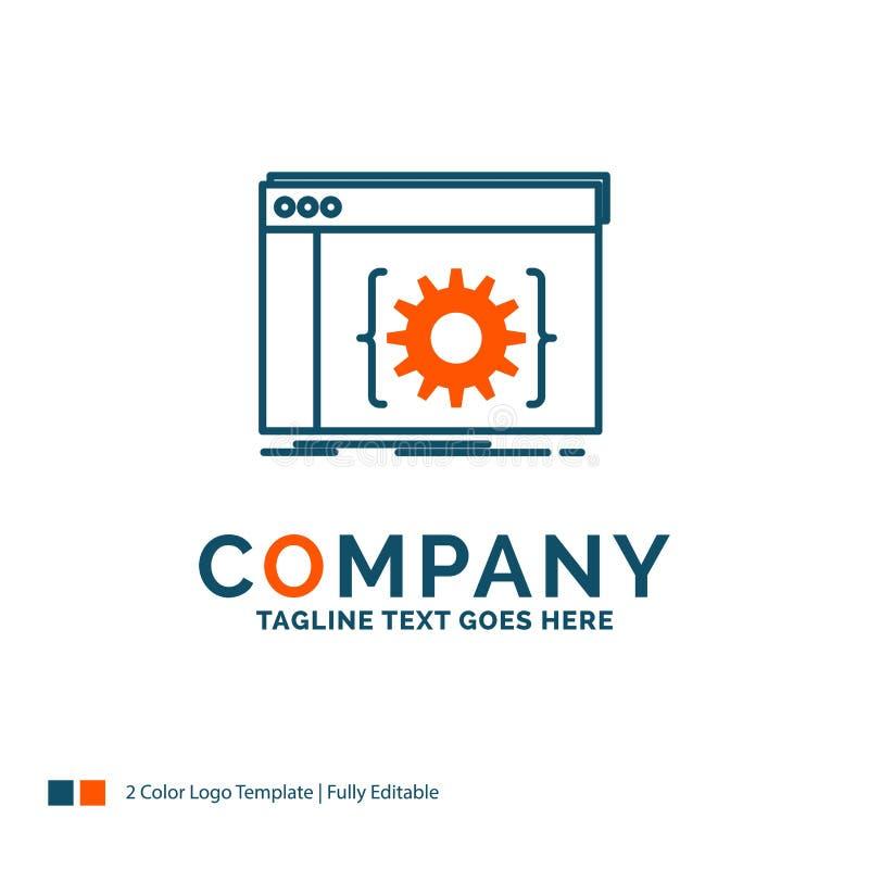 API, App, Kodierung, Entwickler, Software Logo Design Blau und Oran vektor abbildung