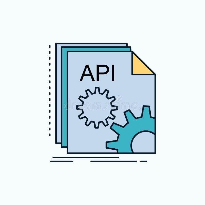 Api app som kodifierar, b?rare, plan symbol f?r programvara gr?nt och gult tecken och symboler f?r website och mobil appliation v royaltyfri illustrationer