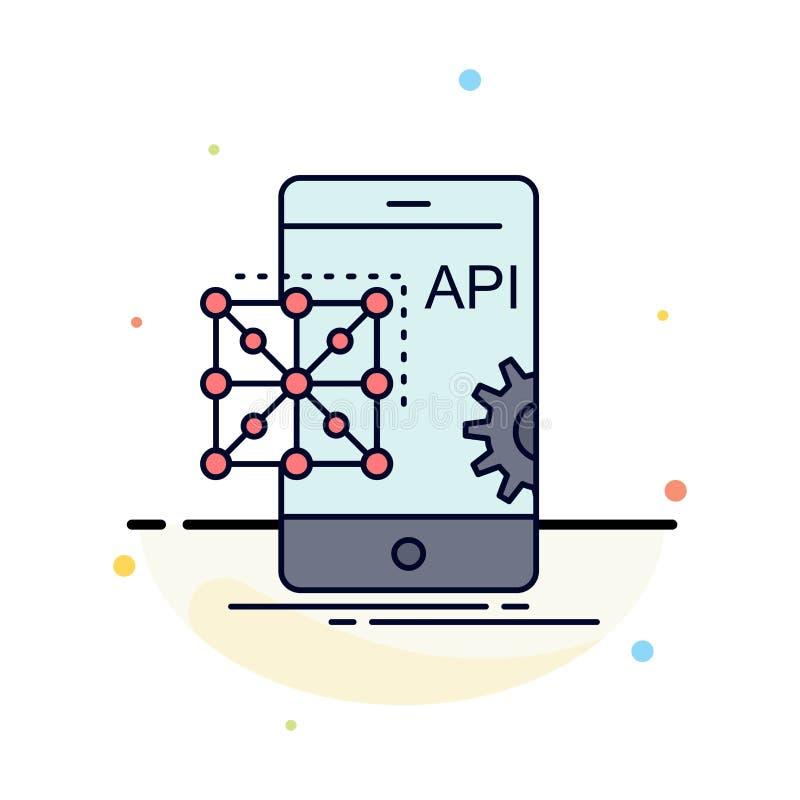 Api, Application, coding, Development, Mobile Flat Color Icon Vector vector illustration